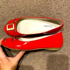 Sandler Red patent leather flats size 7